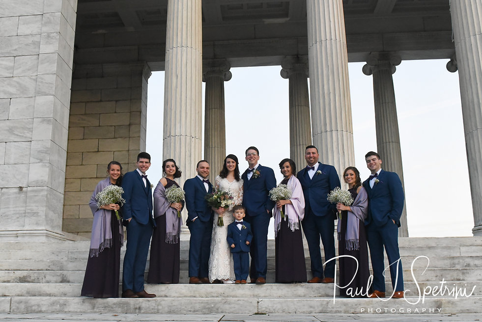 Stacey & Mack pose for a formal photo with their wedding party at Roger Williams Park in Providence, Rhode Island prior to their December 2018 wedding reception at Independence Harbor in Assonet, Massachusetts.