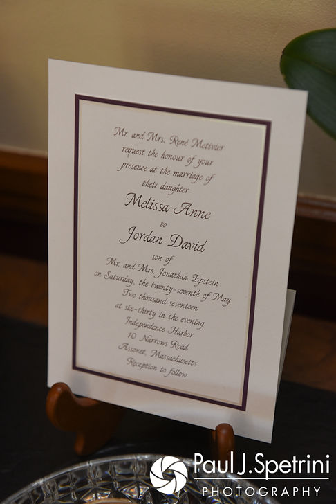 A look at the wedding invitation, on display during Melissa's May 2017 bridal prep session at her mother's home in Bristol, Rhode Island.