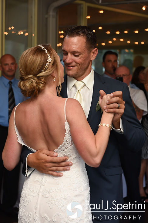 Kim and Matt dance during their August 2016 wedding at Whispering Pines Conference Center in West Greenwich, Rhode Island.