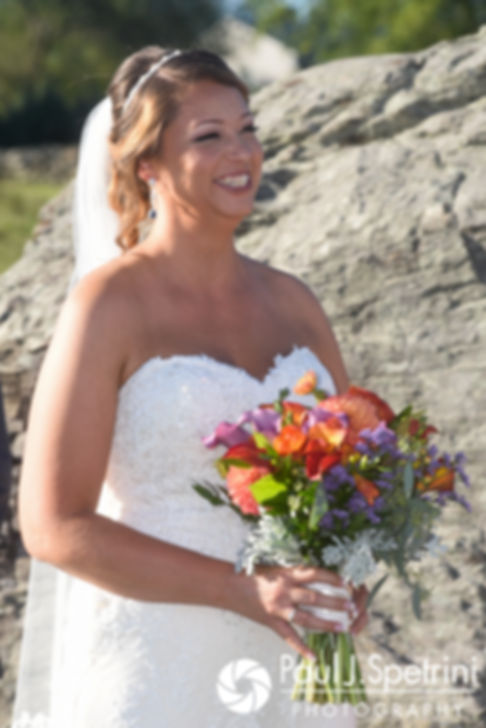 Jennifer looks at Kevin and smiles during her September 2017 wedding ceremony at Allen Hill Farm in Brooklyn, Connecticut.
