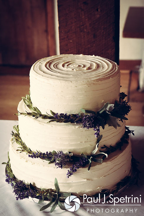 A look at the wedding cake for Ellen and Jeremy's May 2016 wedding at Bittersweet Farm in Westport, Massachusetts.