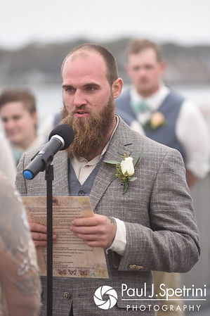 Gary reads his vows during his September 2017 wedding ceremony at North Beach Club House in Narragansett, Rhode Island.