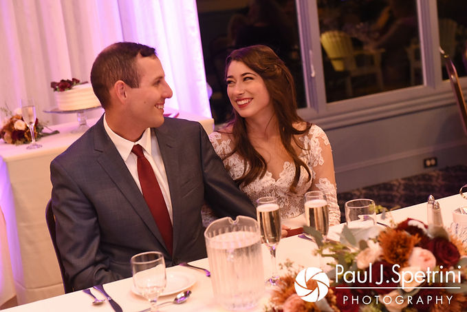 Keiran and Jessica smile during the best man's speech during their October 2017 wedding reception at Crystal Lake Golf Club in Mapleville, Rhode Island.
