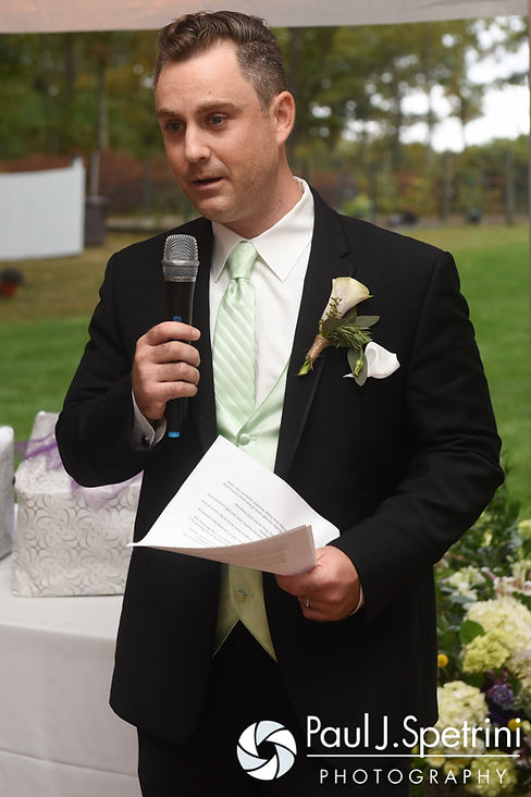 Forrester's best man gives a speech during Forrester and Lisajean's October 2016 wedding reception in Charlestown, Rhode Island.