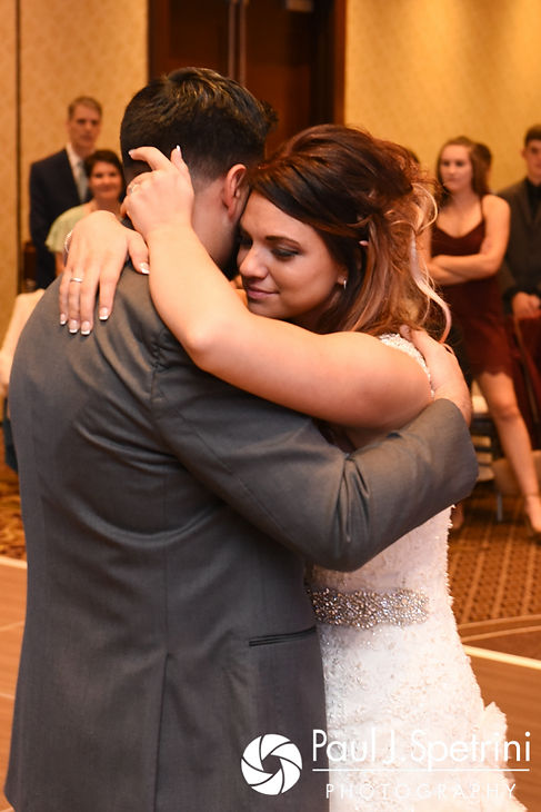Dallas and Nicky share their first dance during their September 2017 wedding reception at the Crowne Plaza Hotel in Warwick, Rhode Island.