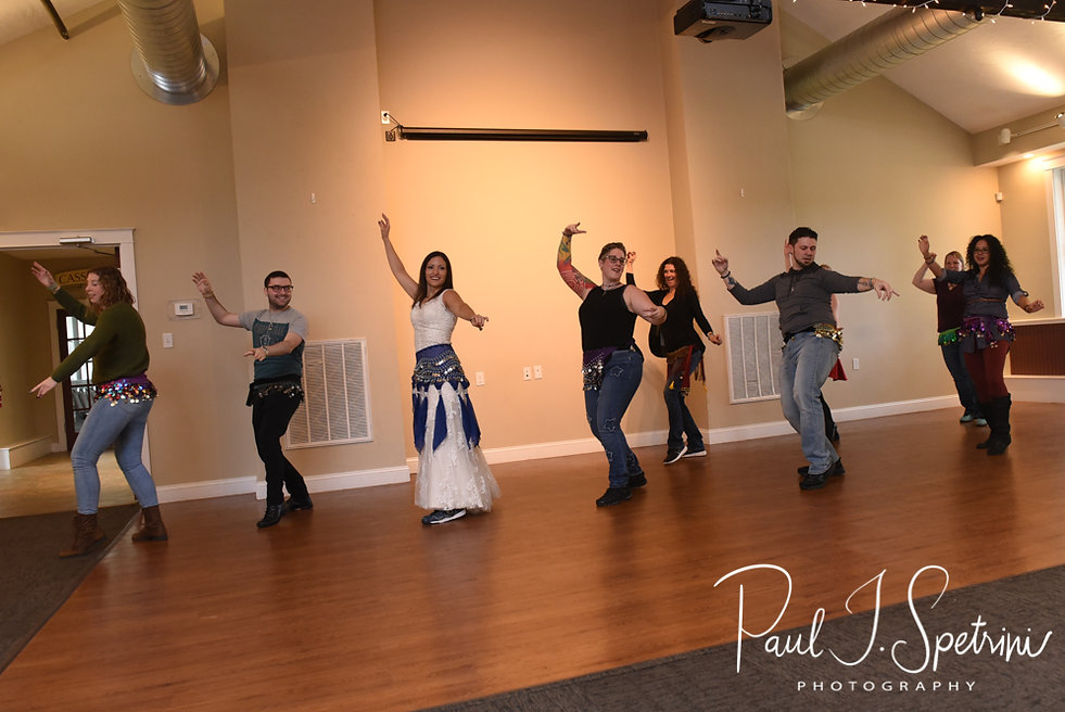 Amanda dances in a Zumba flash mob during her October 2018 wedding reception at Loon Pond Lodge in Lakeville, Massachusetts.