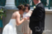 Danielle and Mark exchange rings during their August 2018 wedding ceremony at the Roger Williams Park Casino in Providence, Rhode Island.
