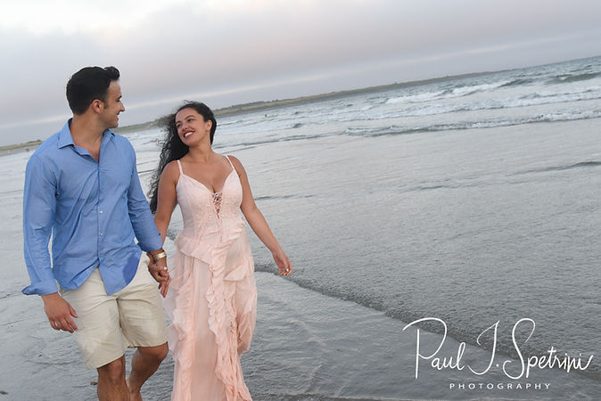 Jocelyn & Ricky pose for a photo during their July 2018 engagement session at Second Beach in Middletown, Rhode Island.