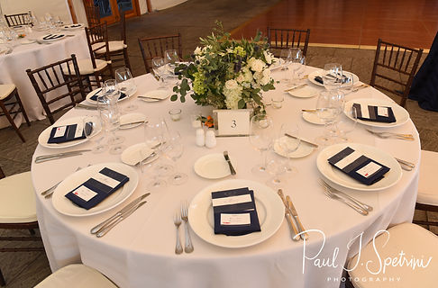 A look at the table settings prior to David & Whitney's October 2018 wedding ceremony at Castle Hill Inn in Newport, Rhode Island.