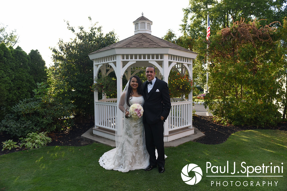 Stephany and Arten pose for a formal photo prior to their September 2017 wedding reception at Wannamoisett Country Club in Rumford, Rhode Island.