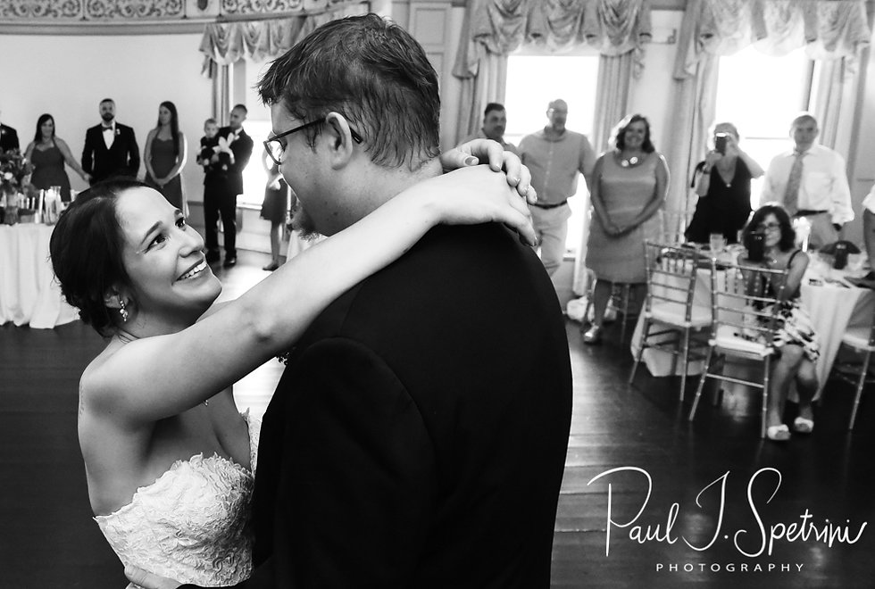 Danielle & Mark dance during their August 2018 wedding reception at the Roger Williams Park Casino in Providence, Rhode Island.