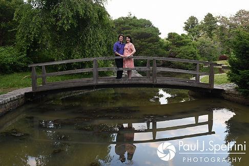 Allison and Len smile for a photo at the Roger Williams Park Japanese Gardens in Providence, Rhode Island during their June 2017 engagement photo session.
