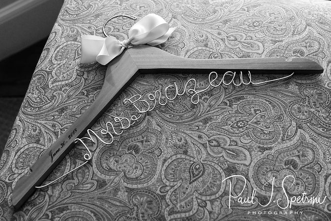 A look at Sarah's special hanger for her wedding dress, photograhed prior to her June 2018 wedding ceremony at the College of the Holy Cross in Worcester, Massachusetts.
