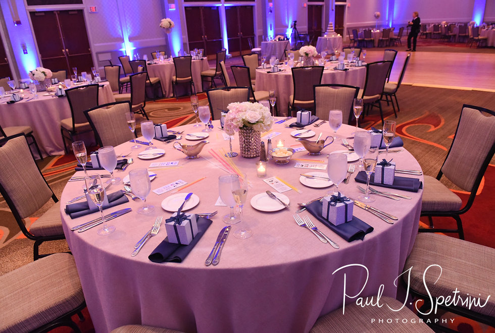A look at the table settings prior to Sarah & Anthony's October 2018 wedding reception at The Omni Hotel in Providence, Rhode Island.