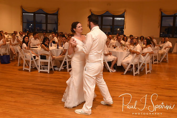Mike & Selah dance during their August 2018 wedding reception at The Rotunda Ballroom at Easton's Beach in Newport, Rhode Island.