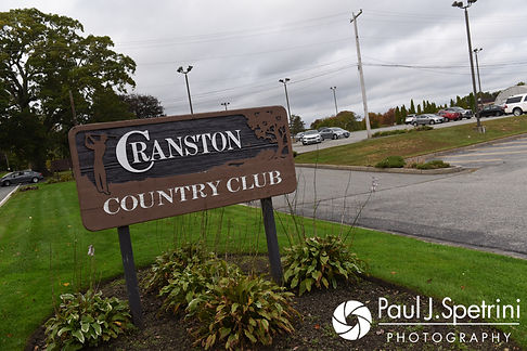 A look at the Cranston Country Club entrance sign in Cranston, Rhode Island prior to Kevin and Joanna's October 2017 wedding ceremony.
