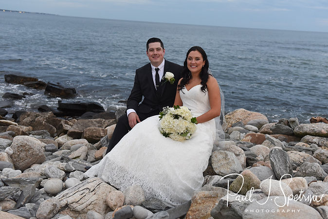 Nicole & Dan pose for a formal photo following their September 2018 wedding ceremony at The Towers in Narragansett, Rhode Island.