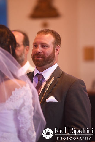 Dale looks at Samantha during his October 2017 wedding ceremony at St. Robert's Church in Johnston, Rhode Island.