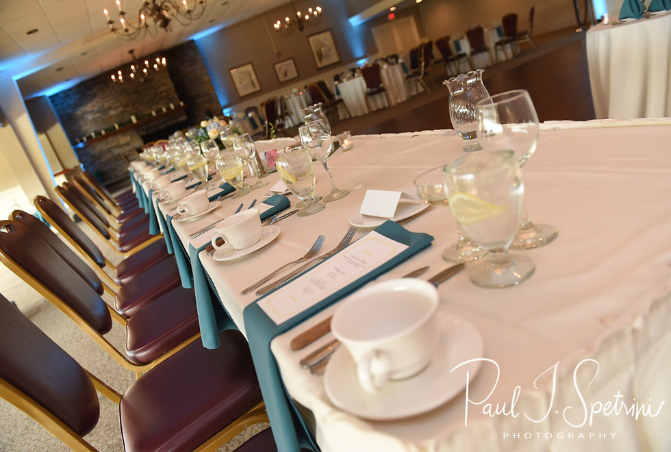 A look at Brian and Sarah's sweetheart table, as seen during their June 2018 wedding reception at Pleasant Valley Country Club in Sutton, Massachusetts.
