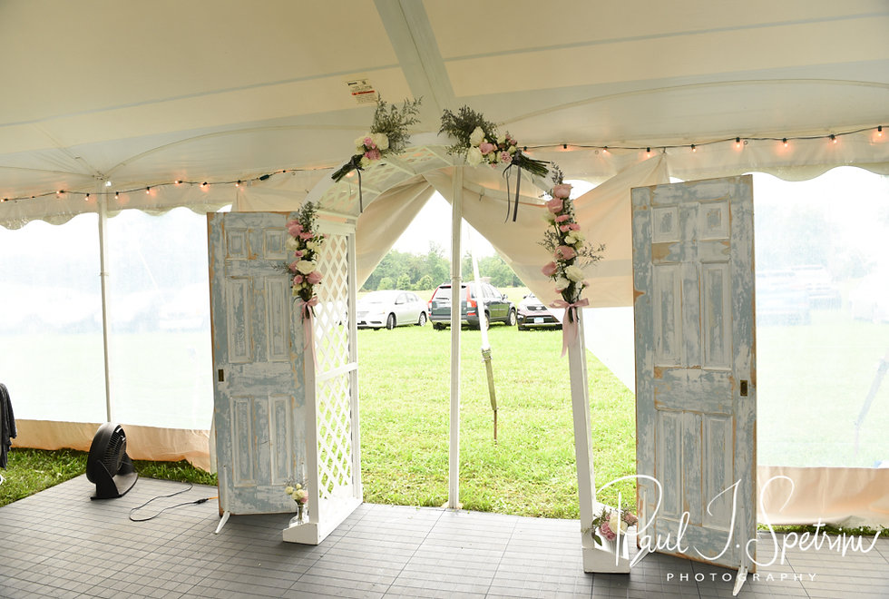A look at the ceremony site prior to Karolyn & Ethan's August 2018 wedding ceremony at a private residence in Sterling, Connecticut.