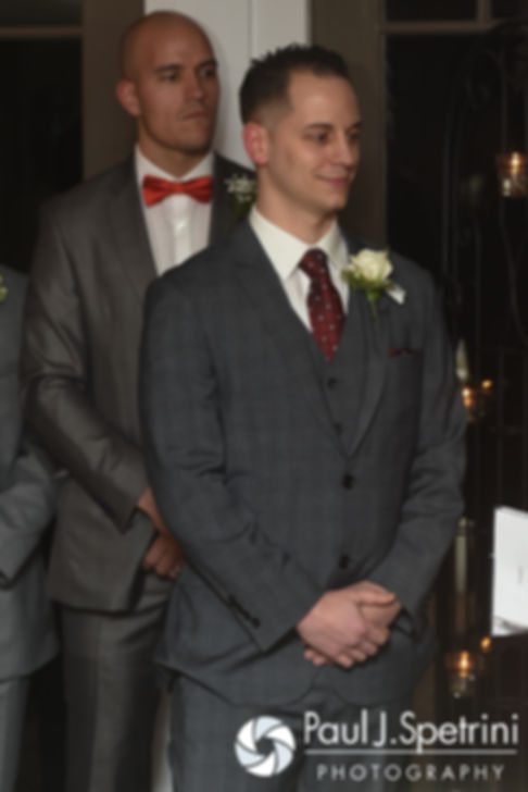 David smiles during his December 2016 wedding ceremony at the Waterman Grille in Providence, Rhode Island.