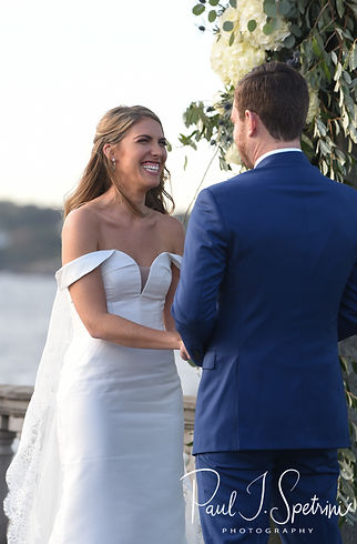 Whitney smiles at David during her October 2018 wedding ceremony at Castle Hill Inn in Newport, Rhode Island.