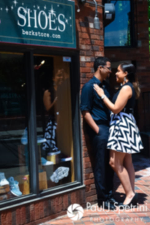 Lucelene and Luis pose for a photo on Thayer Street in Providence, Rhode Island during their May 2017 engagement shoot.