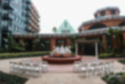 A look at the ceremony location prior to Amanda & Josh's October 2018 wedding ceremony at the Walt Disney World Swan & Dolphin Resort in Lake Buena Vista, Florida.