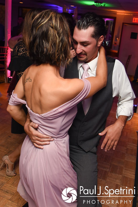 Guests dance during Stacey and John's September 2017 wedding reception in Warren, Rhode Island.