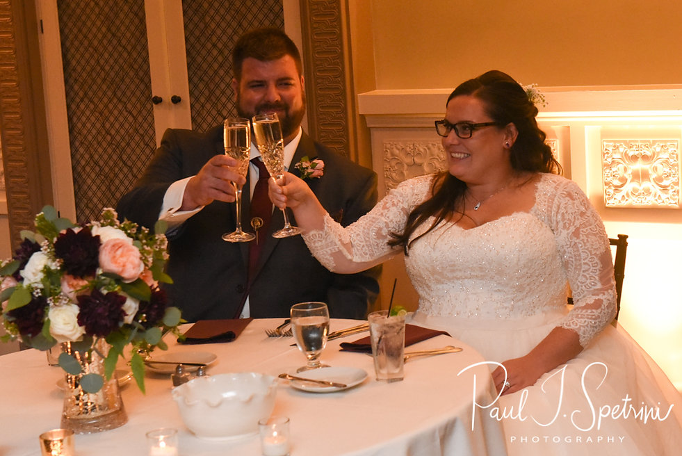 Katie and Steve toast during their October 2018 wedding reception at The Villa at Ridder Country Club in East Bridgewater, Massachusetts.