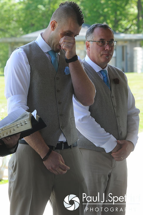 Ian sheds a tear as he sees Krystal walk down the aisle during their May 2016 wedding at Colt State Park in Bristol, Rhode Island.