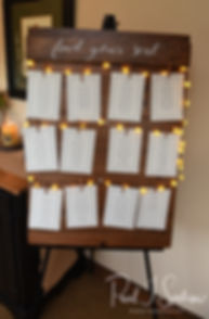 A look at the seating chart on display during Zach & Kelly's June 2018 wedding reception at Blissful Meadows Golf Club in Uxbridge, Massachusetts.
