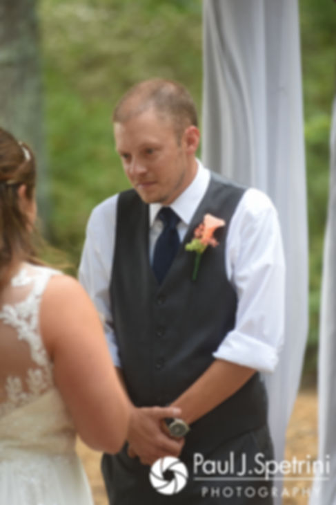 Scott listens as Toni reads her vows during his August 2017 wedding ceremony at Crystal Lake Golf Club in Mapleville, Rhode Island.