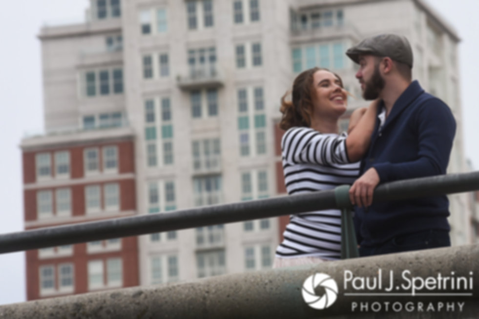 Alison and Gary pose for a photo in downtown Providence, Rhode Island during their September 2017 engagement session.