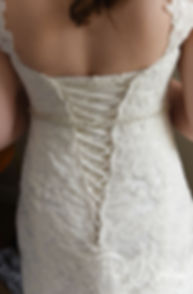 A look at the back of Sarah's dress prior to her June 2018 wedding ceremony at the College of the Holy Cross in Worcester, Massachusetts.