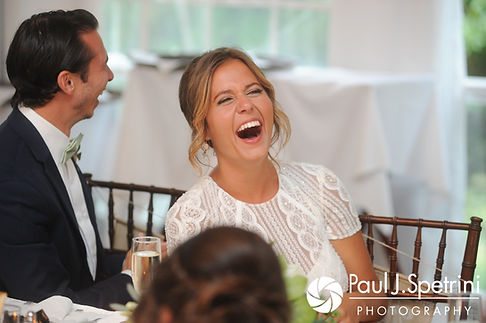Jennifer laughs during her August 2017 wedding reception at The Inn at Mystic in Mystic, Connecticut.