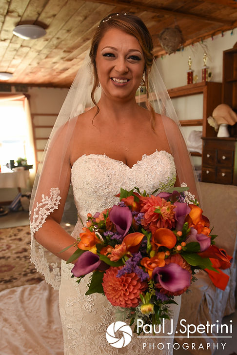Jennifer smiles for a photo prior to her September 2017 wedding ceremony at Allen Hill Farm in Brooklyn, Connecticut.