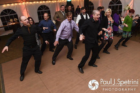 "JD and his theater group perform the ""Timewarp"" during his October 2016 wedding reception at The Farm at SummitWynds in Jefferson, Massachusetts."
