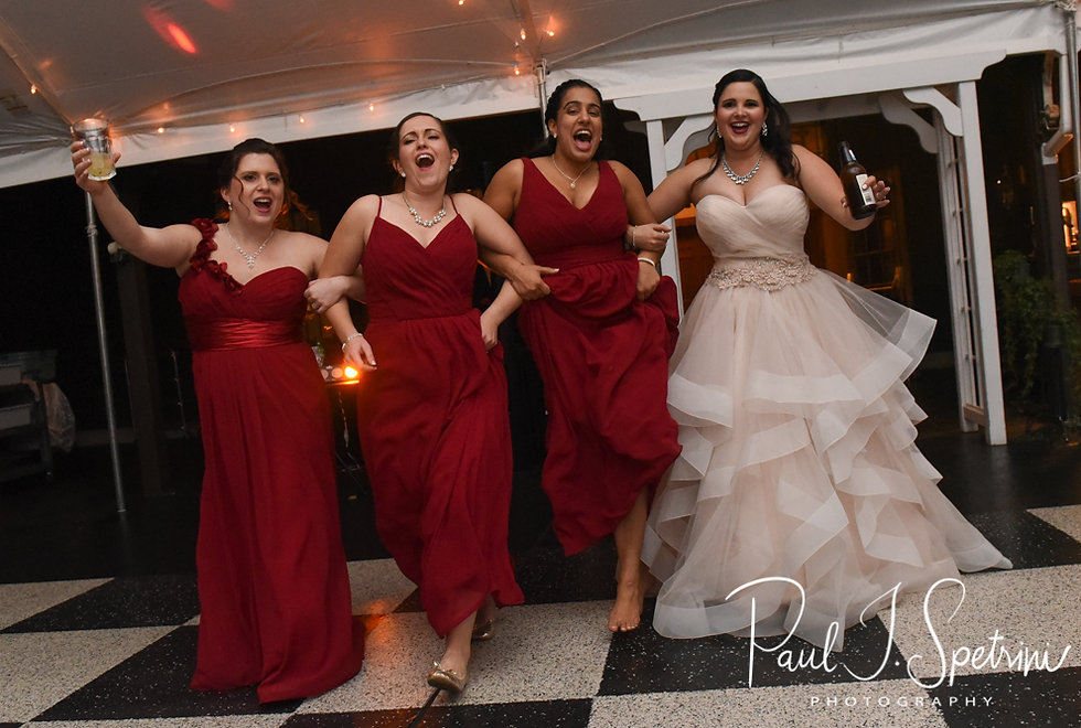 Makayla and her bridesmaids dance during her October 2018 wedding wedding reception at Zukas Hilltop Barn in Spencer, Massachusetts.