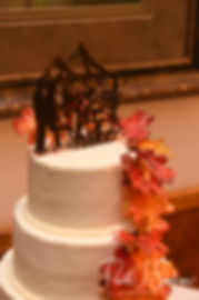 A look at the wedding cake prior to Rich & Makayla's October 2018 wedding wedding reception at Zukas Hilltop Barn in Spencer, Massachusetts.