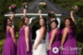 Alyssa poses for a photo with her bridesmaids prior to her August 2016 wedding reception at LeBaron Hills Country Club in Lakeville, Massachusetts.