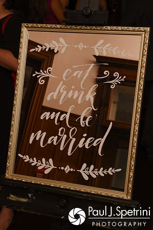 A look at a welcome sign, on display prior to Allison and Len's September 2017 wedding reception at the Roger Williams Park Casino in Providence, Rhode Island.