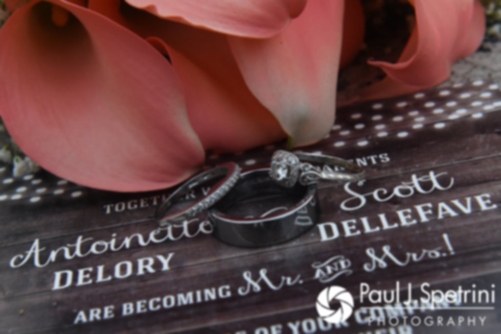A look and Toni and Scott's wedding rings, shown during their August 2017 wedding reception at Crystal Lake Golf Club in Mapleville, Rhode Island.