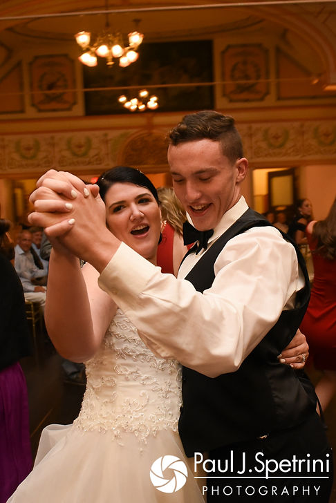 Allison and her brother dance during her and Len's September 2017 wedding reception at the Roger Williams Park Casino in Providence, Rhode Island.