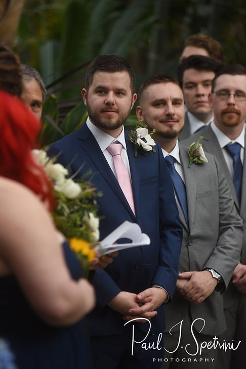 Gary looks on during his May 2018 wedding ceremony at the Roger Williams Park Botanical Center in Providence, Rhode Island.