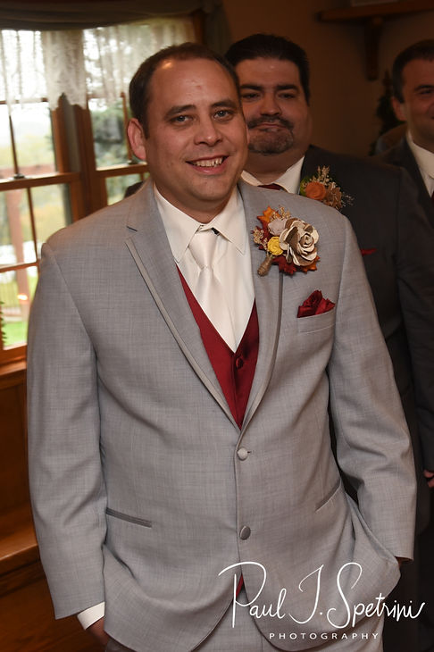 Rich smiles as he waits for Makayla to walk down the aisle during his October 2018 wedding ceremony at Zukas Hilltop Barn in Spencer, Massachusetts.