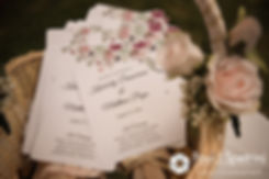 A look at Kim and Matt's wedding program, on display at their August 2016 wedding at Whispering Pines Conference Center in West Greenwich, Rhode Island.