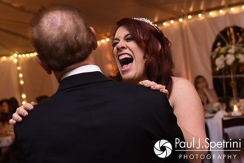 Brooke dances with her dad during her October 2016 wedding reception at The Farm at SummitWynds in Jefferson, Massachusetts.