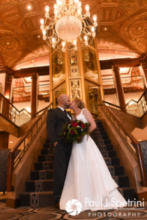 Tricia and Kevin pose for a formal photo during their October 2017 wedding reception at the Providence Biltmore in Providence, Rhode Island.