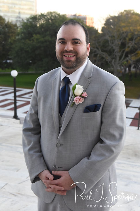 Anthony poses for a formal photo at the Rhode Island Statehouse prior to his October 2018 wedding reception at The Omni Hotel in Providence, Rhode Island.